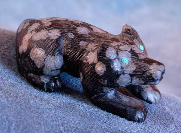 Clive Hustito Zuni Fetish Snowflake Obsidian Badger